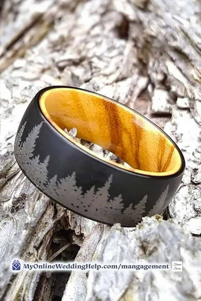 Mans engagement ring or wedding band. Wood and tungsten.