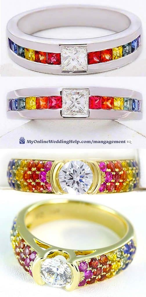 Rainbow Engagement Rings. LGBT unisex rings.
