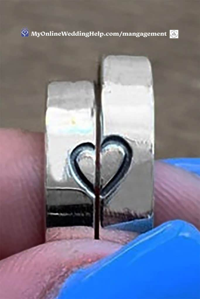 Silver heart promise ring set.