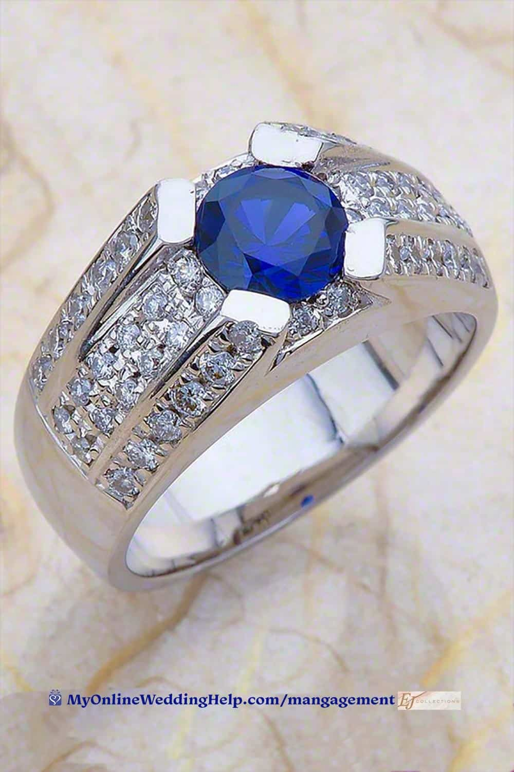 Men's Engagement or Mangagement Ring. Diamonds and solitaire sapphire.
