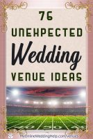 76 unique, different wedding venue ideas. Once upon a time, meeting halls and ballrooms were the most obvious locations for wedding receptions. Not anymore. Some of these you would never have thought of. Others are kind of unique but may give you other ideas. Read the full 76 nontraditional ideas on the My Online Wedding Help blog.