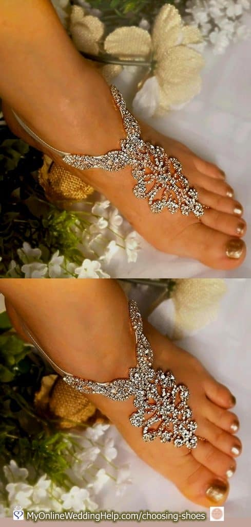 Crystal Barefoot Wedding Sandals