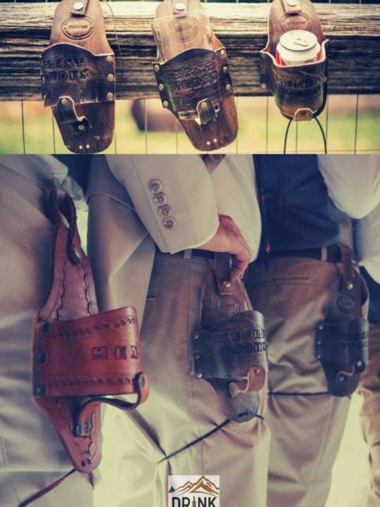 Photos of Rustic Elegant Wedding Idea #5 - Groomsmen Gift Drink Holsters, strapped to guys' thighs and hip. And three holsters perched on a wooden fence.