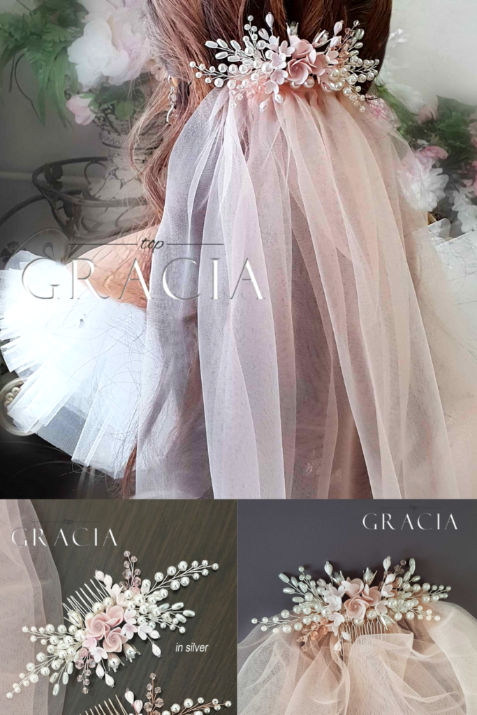Blush rustic elegant wedding comb with flowers and pearls. Also, a blush veil on a bride with brown hair and white dress. Gracia logo overlay.