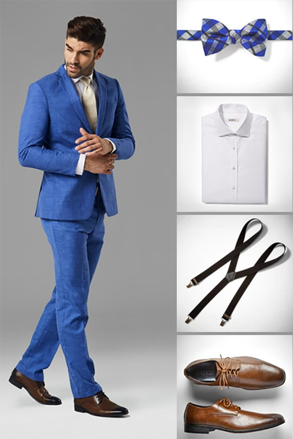 This bright blue groomsmen suit is darker than dusty blue but lighter than royal. Keep it classic with a long tie and belt. Or make it more unique, with a rustic flare, by adding a bow tie and suspenders. There's also the option of wearing a vest. Tap on the image and scroll to number 2 in the blog post to find a discount coupon code for 20% off this suit rental. #GroomsmenSuits #MyOnlineWeddingHelp #BlueSuits #GroomsmenIdeas #Groomsmen