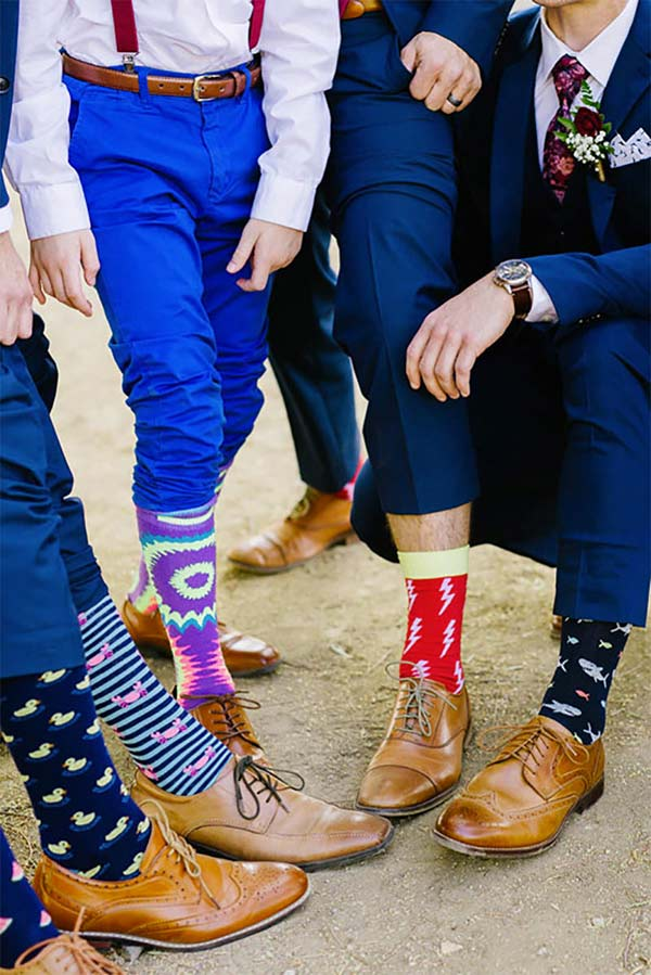 Fun groomsmen attire idea. Novelty socks! They put unique playfulness into the guys' accessories. Tap and scroll to number 5 in the blog post for these and other alternative groomsmen outfit ideas. Also, look there for the link to buy these styles. #GroomGroomsmen #GroomsmenAttire #MyOnlineWeddingHelp #GroomsmenAccessories #GroomsmenIdeas #GroomsSocks #GroomsAttire #GroomAccessories #GroomIdeas #GroomsmenSocks