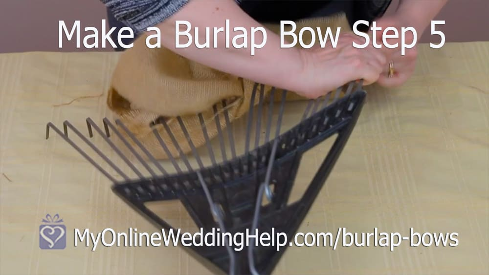 Make a Burlap Bow Step 5. Remove from Rake.