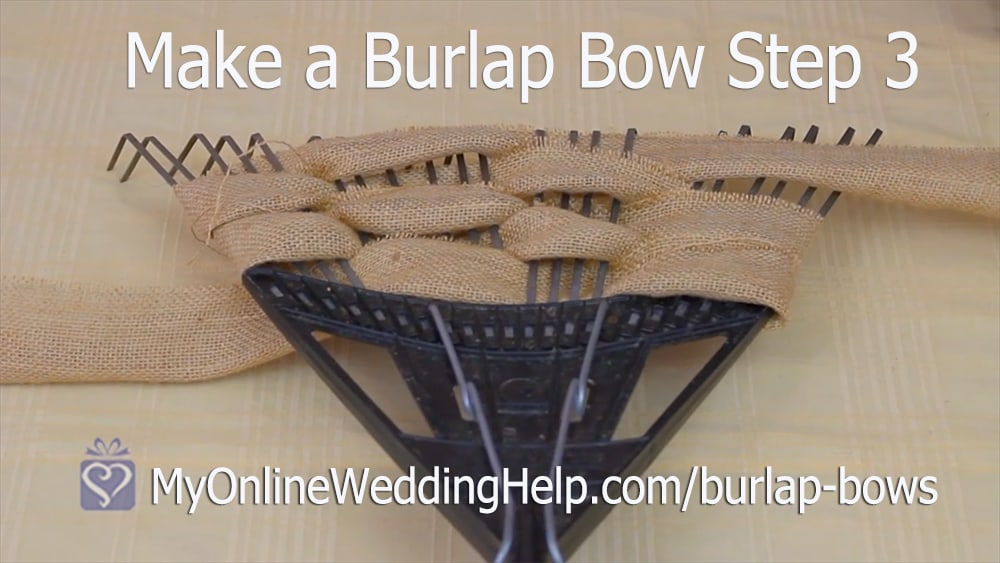 Make a Burlap Bow Step 3. Weave 5 Rows.