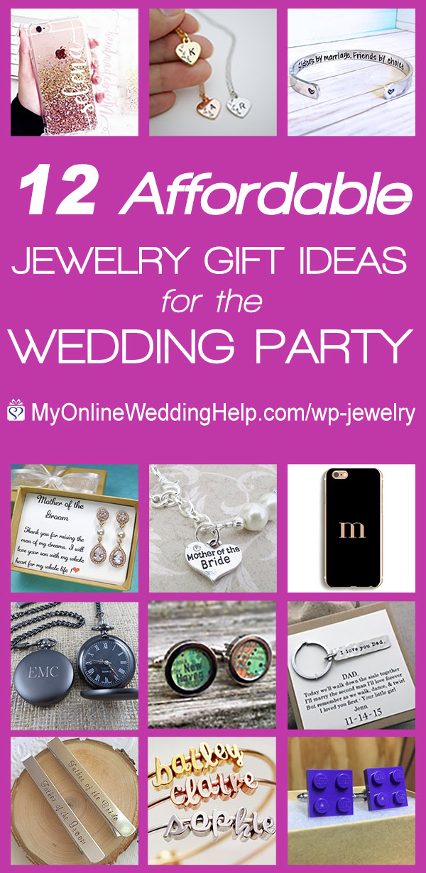 Affordable wedding party jewelry gifts they will flip over. 12 different ideas. Okay, I admit some of them are more bling than jewelry. But still. On the My Online Wedding Help blog.