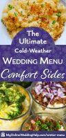Comfort food wedding sides: Mashed potatoes and macaroni and cheese bar.