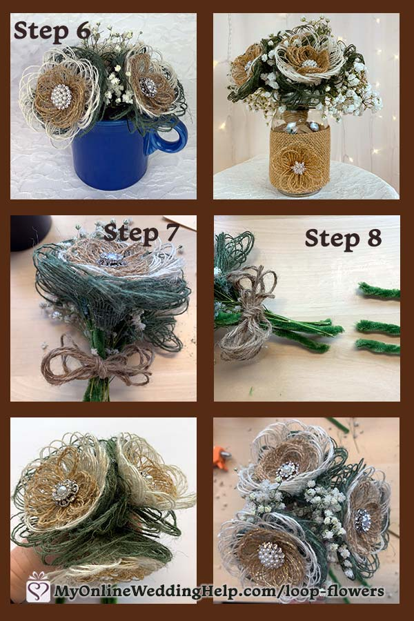 Easy DIY Loopy Burlap Fabric Flowers 7