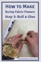 Loop burlap fabric flowers step 3 is to roll and glue the bloom. Step 4 ... see how to make the whole flower on the My Online Wedding Help blog. Use for wedding centerpieces or craft decor project.