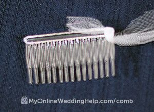 First wrap the tulle around the end of the veil comb, leaving a short tail. See how to wrap a veil comb and attach it to your wedding veil on the My Online Wedding Help blog. #WeddingVeil #VeilComb