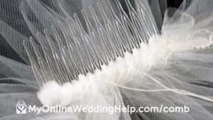 How to sew a comb to a veil. Read and watch video on the My Online Wedding Help blog. #DIYVeil #DIYWedding