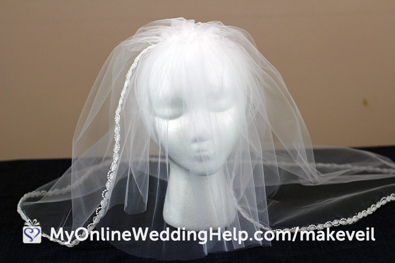 The completed DIY wedding veil, with comb attached. #DIYVeil #WeddingVeil