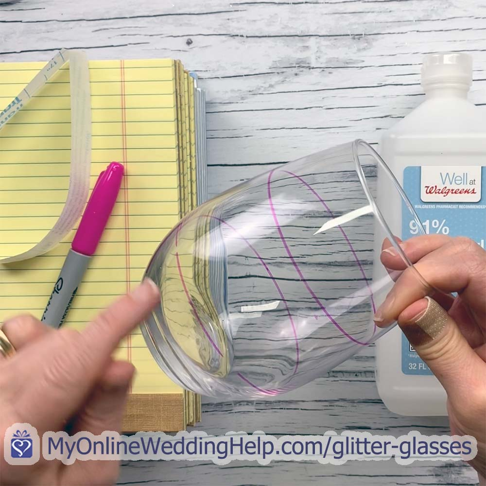 Step 1 for DIY glitter wine glasses: clean the glass and prep for the glitter.