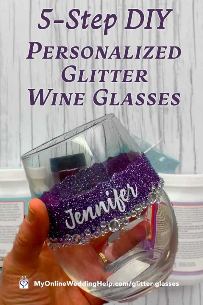 5-Step DIY Personalized Glitter Wine Glasses