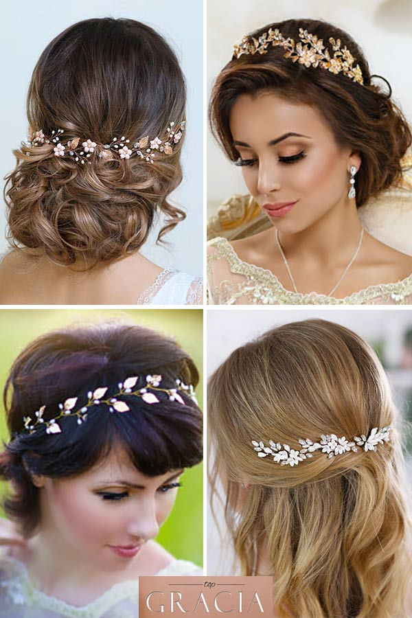 Rustic wedding hair accessories. These work equally well as headpieces for the bride or bridesmaids. The include both flowers and swarovski-like crystals. Elegant Country Rustic Wedding Ideas number 2. #rusticweddingideas #MyOnlineWeddingHelp #weddingaccessories #weddinghair