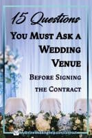 Questions to ask your wedding venue - a guide with 101 questions in 15 areas