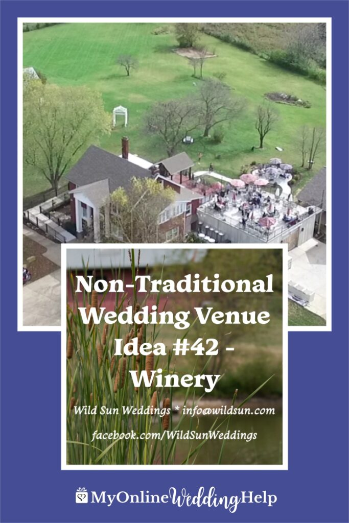 Text overlay on a background of pond with cat tails and winery wedding venue near St. Louis Missouri: Non-Traditional Wedding Venue Idea $42 - Winery. Wild Sun Weddings info@wildsun.com facebook.com/WildSunWeddings