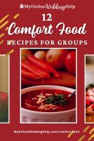 12 Comfort Food Recipes for Groups - bowl of red soup with vegetables in the background