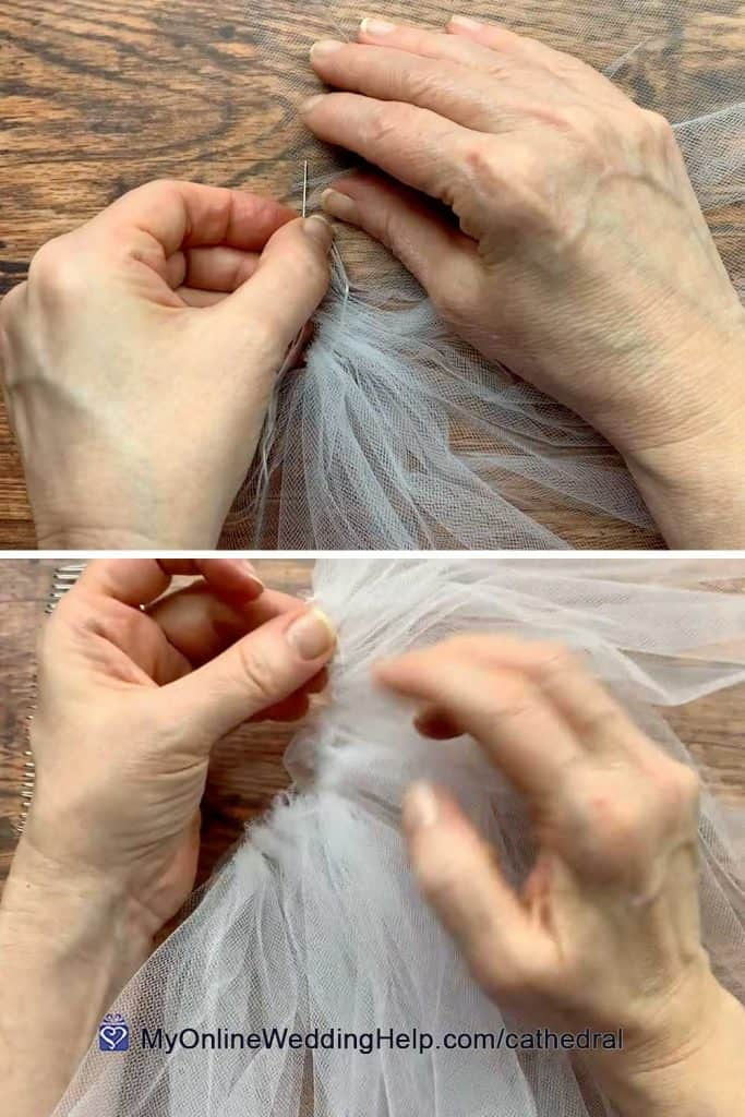 Demonstration of making veil gathers with needle and thread.