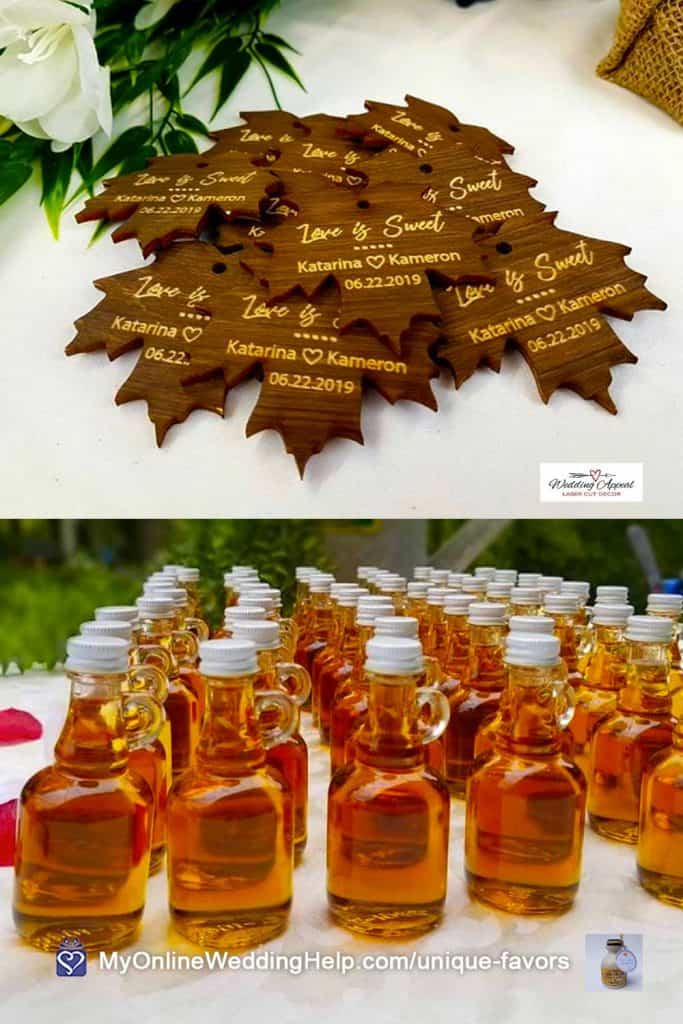 Bottled Maple Syrup Favors with Wooden Leaf Tags