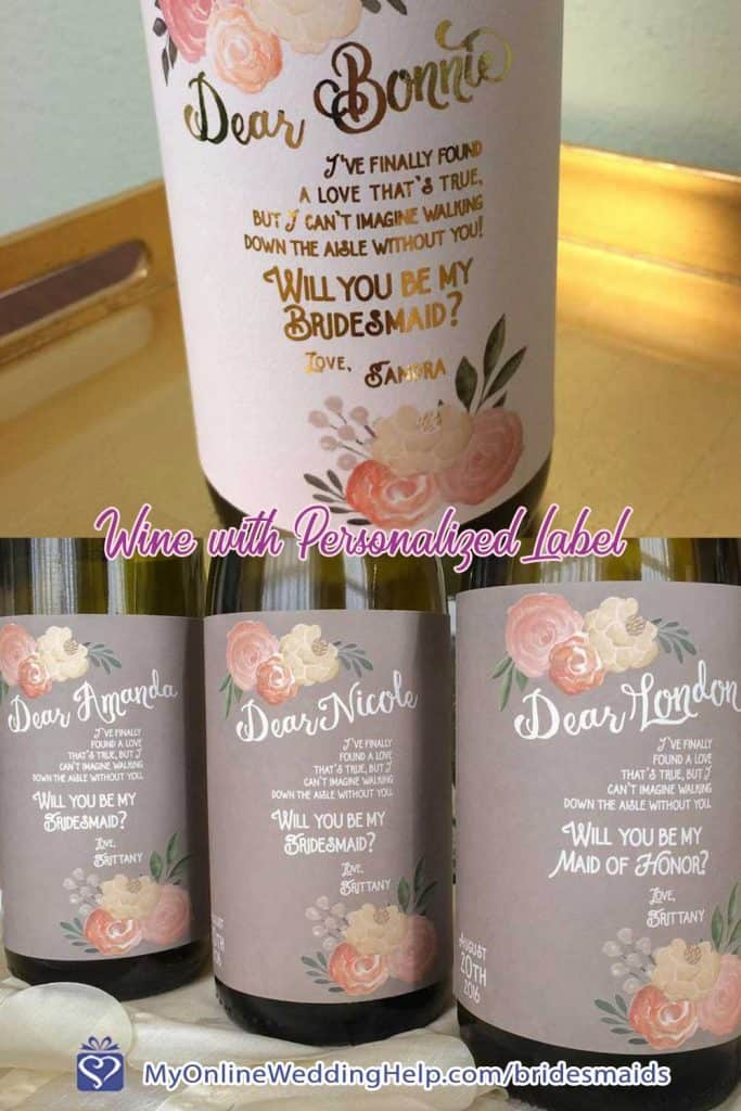 Bridesmaid Personalized Wine Label