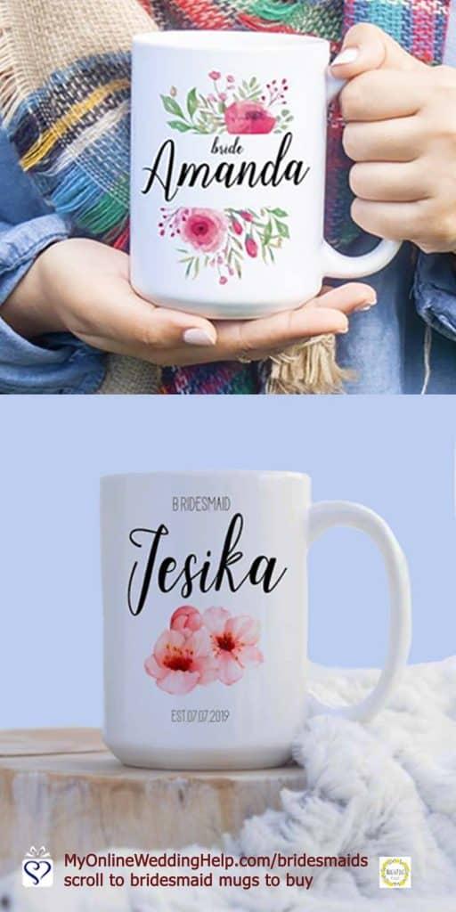Bridesmaid Coffee Mugs. Custom mug for bride, too.