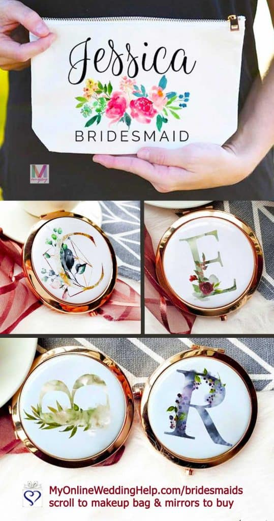Personalized Bridesmaid Makeup Bags and Mirrors
