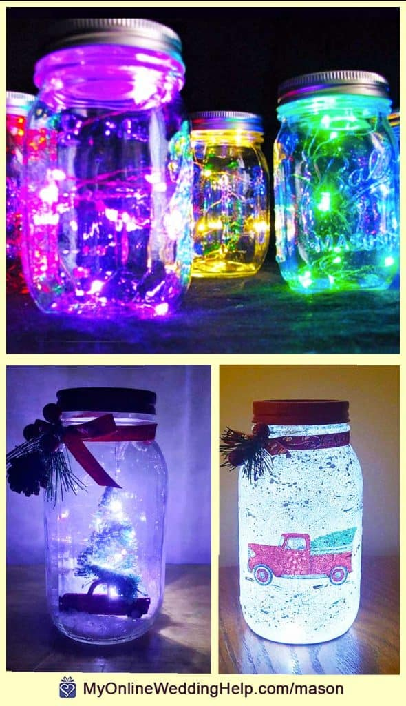 Mason Jar Centerpieces with Lights
